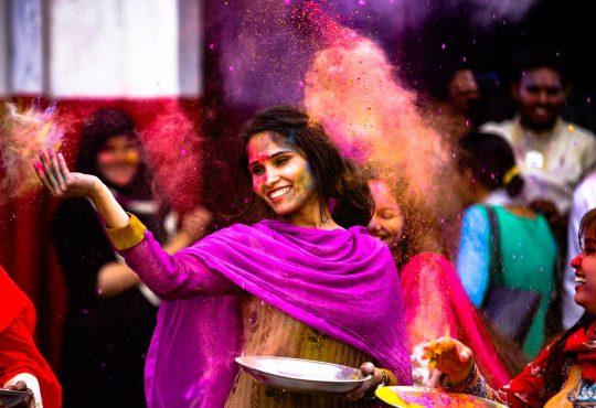 holi, girl, indian