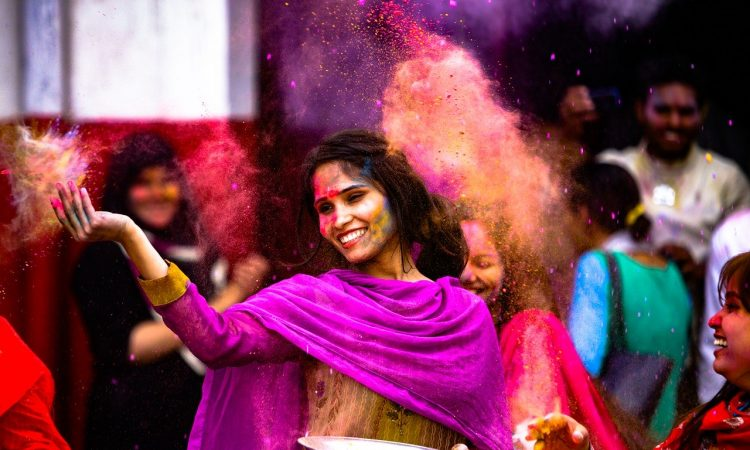 holi, girl, indian